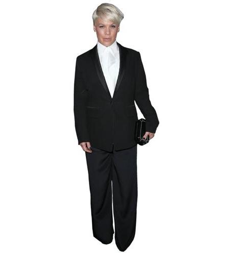 A Lifesize Cardboard Cutout of Pink (Suit) wearing a suit