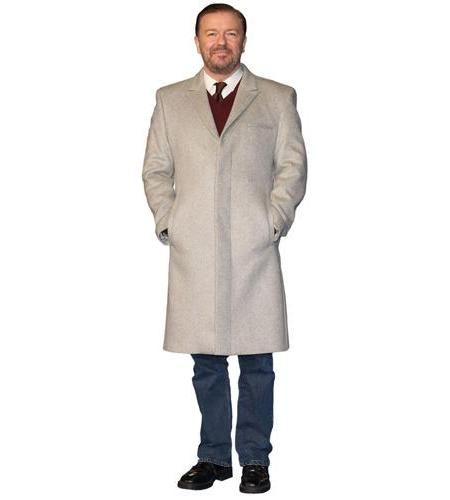 A Lifesize Cardboard Cutout of Ricky Gervais wearing a trench coat