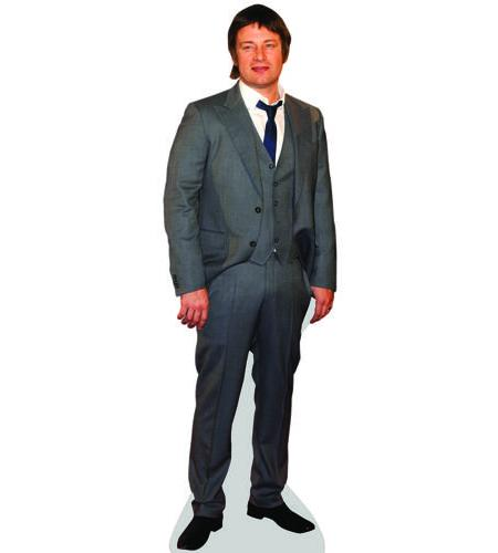 A Lifesize Cardboard Cutout of Jamie Oliver (Grey) wearing grey