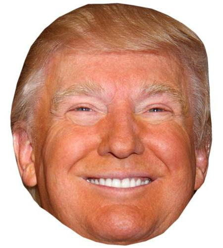 A Cardboard Celebrity Big Head of Donald Trump (Smiling)