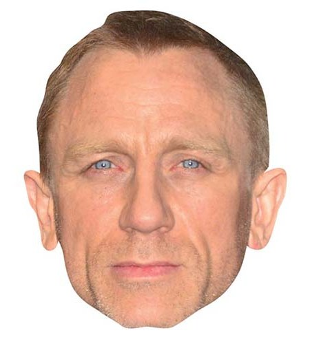 A Cardboard Celebrity Mask of Daniel Craig
