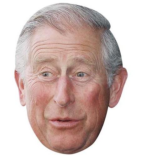 A Cardboard Celebrity Mask of Prince Charles