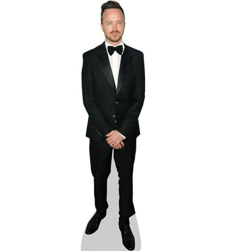 A Lifesize Cardboard Cutout of Aaron Paul wearing a dickie bow