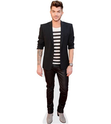 A Lifesize Cardboard Cutout of Adam Lambert (Striped Tshirt) wearing a T-Shirt