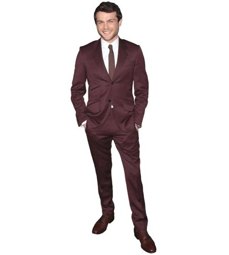 A Lifesize Cardboard Cutout of Alden Ehrenreich wearing purple