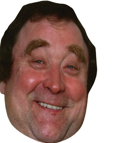 A Cardboard Celebrity Mask of Bernard Manning
