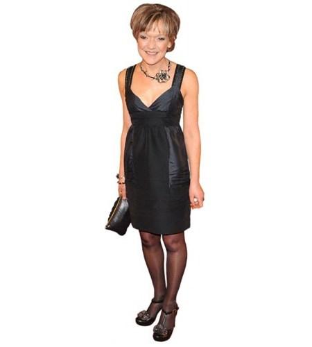 A Lifesize Cardboard Cutout of Gillian Wright wearing a dress