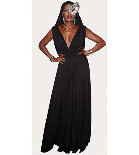 A Lifesize Cardboard Cutout of Grace Jones wearing a mask