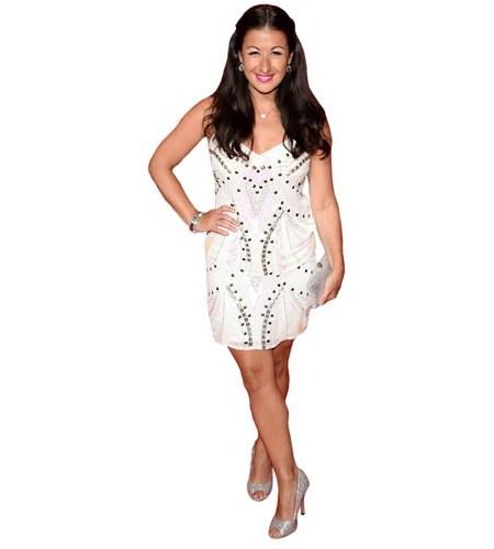 A Lifesize Cardboard Cutout of Hayley Tamaddon wearing a dress