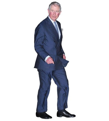 A Lifesize Cardboard Cutout of Prince Charles wearing a suit