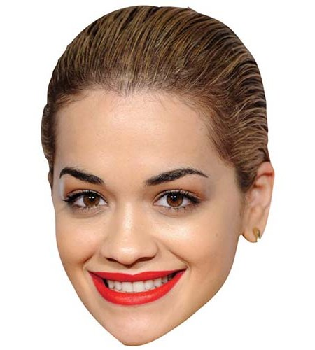 A Cardboard Celebrity Mask of Rita Ora