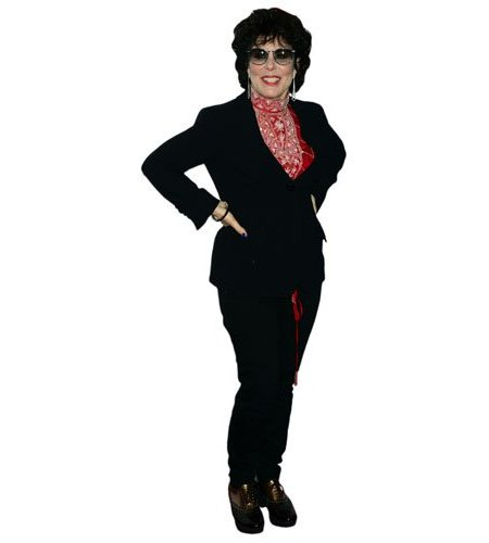 A Lifesize Cardboard Cutout of Ruby Wax wearing trousers
