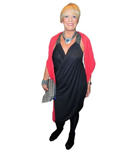 A Lifesize Cardboard Cutout of Sherrie Hewson wearing a red wrap
