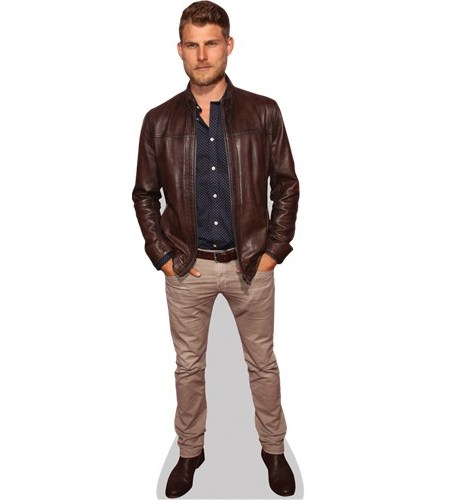A Lifesize Cardboard Cutout of Travis van Winkle wearing a leather jacket