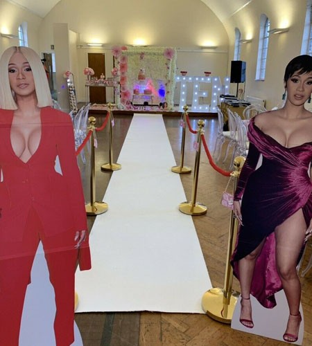 Life Size Cutout Red Suit Cardi B
