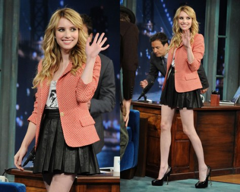 Emma Roberts in Alice + Olivia Leather Skirt
