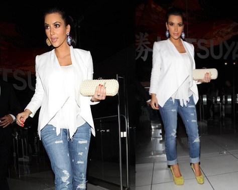 Kim Kardashian in Jet jeans and Christian Louboutin