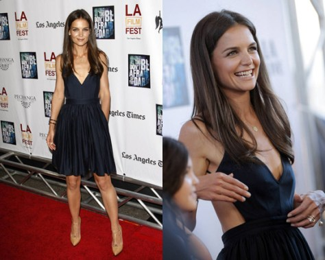 Katie Holmes in Contrarian Barbara Bib Dress