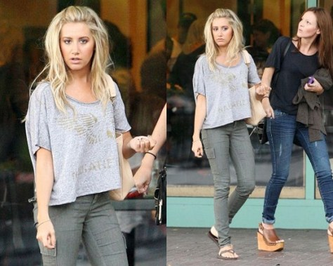Ashley Tisdale in Free People Tee and Cargo Pants
