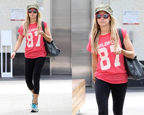 Ashley Tisdale at the gym in Wildfox 87 Tee