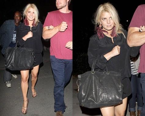 Jessica Simpson leaving Adele concert in Yves Saint Laurent