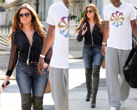 Khloe Kardashian in Equipment Blouse and Christian Louboutin Over The Knee Boots