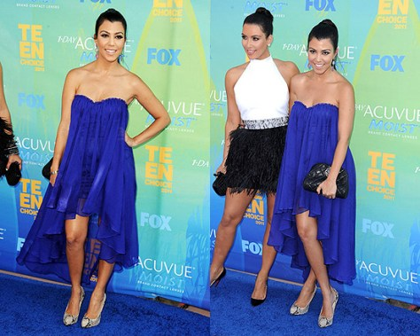 Kourtney Kardashian in Blaque Label Sweetheart Chiffon Dress at the Teen Choice Awards