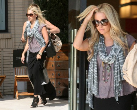 Ashley Tisdale steps out in LNA Column Long Skirt