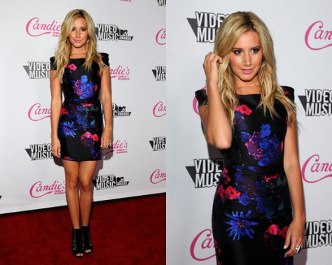Ashley Tisdale at VMAs After Party wearing Tibi Silk Mini Dress