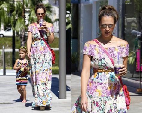 Jessica Alba in Zimmermann Posy floral-print maxi dress