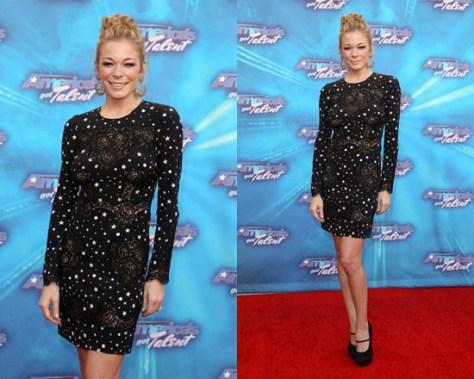 LeAnn Rimes wearing Dolce Gabbana Star Lace Dress on Americas Got Talent