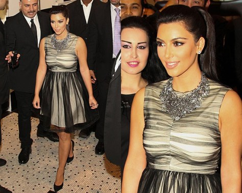 Kim Kardashian at the Dubai Mall wearing Alice + Olivia Heidi Party Dress