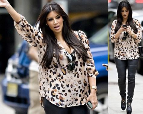 Kim Kardashian in Love Sam Tassel Blouse and Balenciaga Leather Leggings