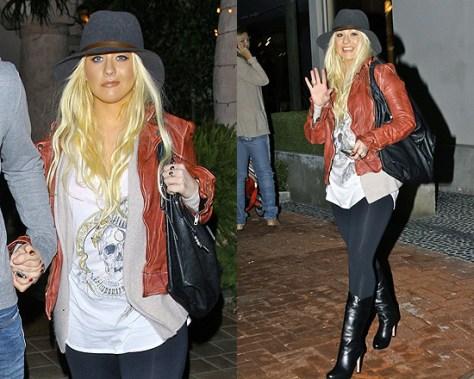 Christina Aguilera wearing Muubaa Mallow Biker Jacket
