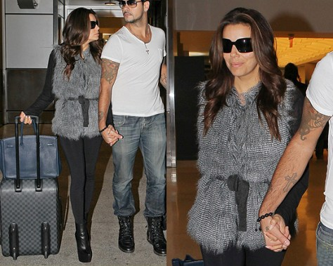 Eva Longoria wearing Sabine Feather Fur Vest