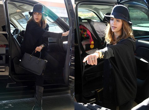 Jessica Alba in Juicy Couture Knit Poncho Jacket