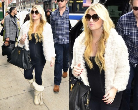 Jessica Simpson and Bump in Marc by Marc Jacobs Nikki Cropped Fur Coat
