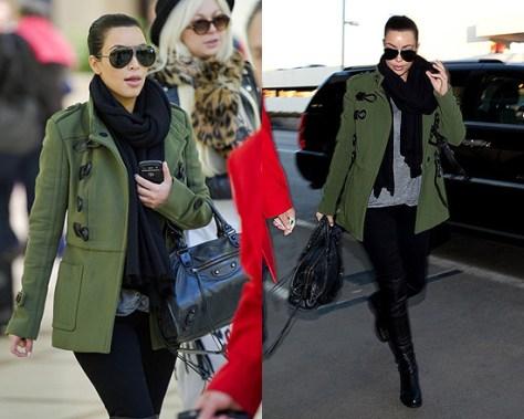 Kim Kardashian wearing Burberry Drop Waist Duffle Trench Jacket