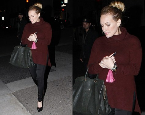 Hilary Duff and Baby Bump in Diane von Furstenberg Havsis Cashmere Turtleneck Sweater