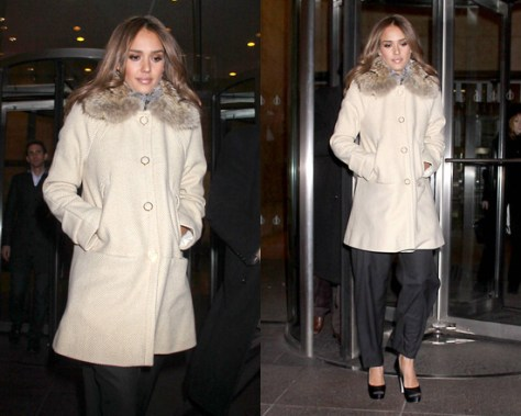 Tory Burch Ivan Removable-Fur-Collar Twill Coat
