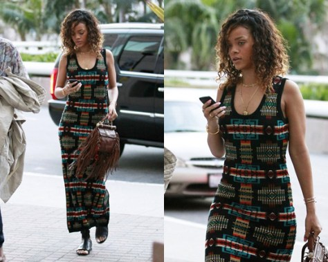 Rihanna wearing Pendleton for Opening Ceremony Pencil Dress
