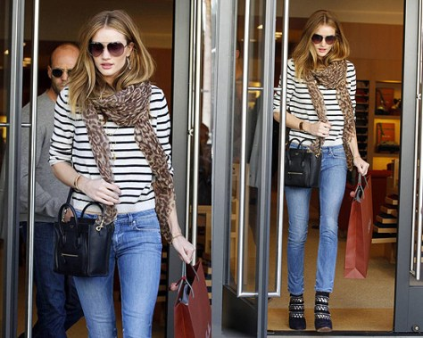 Rosie Huntington-Whiteley Goes Shopping in Alaia Stud and Zip Ankle Boots