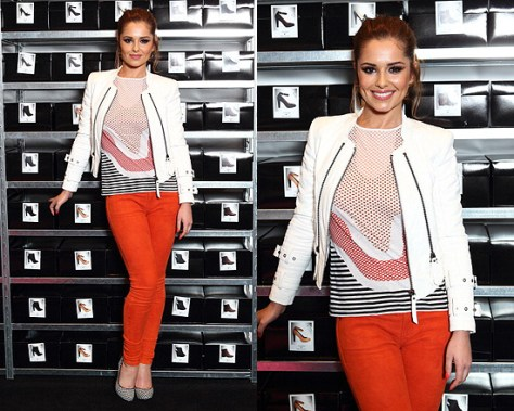 Cheryl Cole Launches StylistPick Pop-up Shop in Karl Oralee Leather Jacket