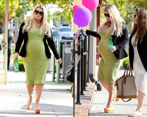 Jessica Simpson proudly shows her growing baby bump in a T by Alexander Wang Racer Back Tank Dress