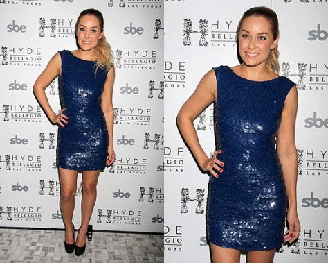 Lauren Conrad celebrates her birthday in Alice + Olivia Vista Sequined Tunic Dress