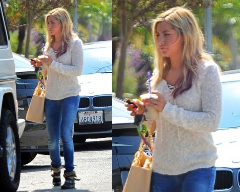 Ashley Tisdale in Splendid Denali Tie Front Slub Sweater