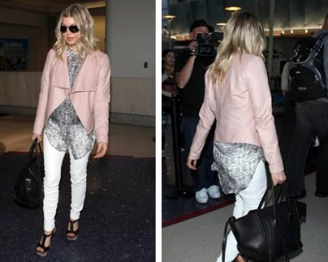 Fergie at LAX wearing Pierre Balmain Sheer Paisley-Print Blouse