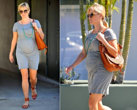 Reese Witherspoon shows off baby bump in Vanessa Bruno Athé Short Sleeved Dress