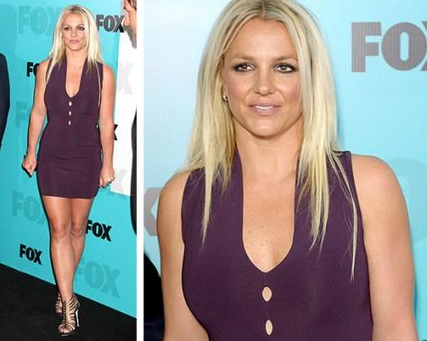 Britney Spears in Alexander Wang Sleeveless Pointelle V-Neck Dress