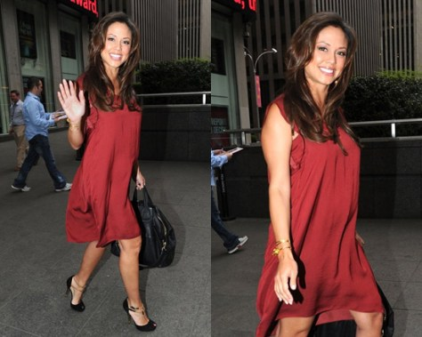 Vanessa Lachey in Splendid Easy Day Dress and Gucci Ophelie Two-Tone Open-Toe Pumps